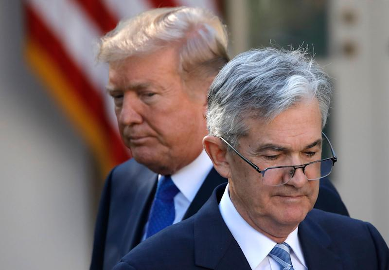 President Donald Trump looks on as Jerome Powell, then his nominee to become chairman of the Federal Reserve, prepares to speak on Nov. 2, 2017. (Photo: Carlos Barria / Reuters)