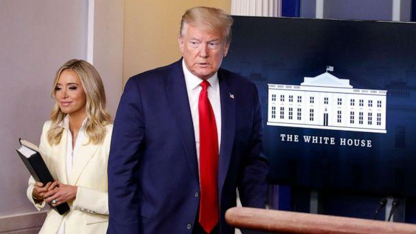 PHOTO: President Donald Trump arrives with White House press secretary Kayleigh McEnany to speak with reporters about the coronavirus in the James Brady Briefing Room of the White House, May 22, 2020, in Washington. (Alex Brandon/AP)