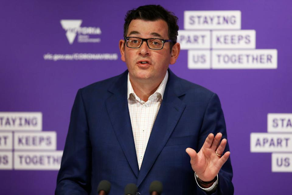 Daniel Andrews has rejected criticism over the arrival of scores of travellers from New Zealand in the state. Source: Getty