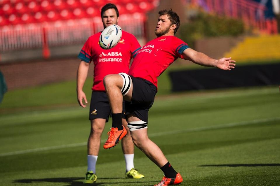 South Africa's Duane Vermeulen attends a training session at the Gateshead International Stadium in Gateshead, on September 29, 2015 (AFP Photo/Lionel Bonaventure)