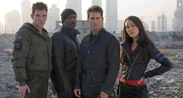 Jonathan Rhys-Meyers, Ving Rhames, Tom Cruise and Maggie Q in a still from <i>Mission: Impossible 3<i>. (Paramount Pictures)</i></i>