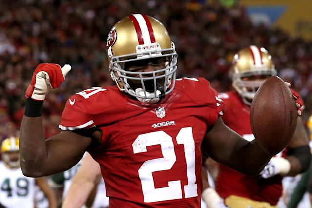 SAN FRANCISCO, CA - JANUARY 12: Running back Frank Gore #21 of the San Francisco 49ers celebrates after scoring a touchdown in the fourth quarter against the Green Bay Packers during the NFC Divisional Playoff Game at Candlestick Park on January 12, 2013 in San Francisco, California. (Photo by Stephen Dunn/Getty Images)