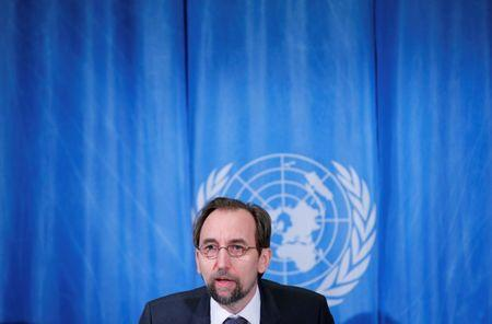 Zeid UN High Commissioner for Human Rights addresses a news conference in Geneva