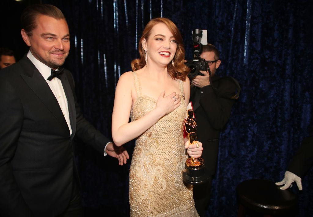 Leonardo DiCaprio appears alongside Emma Stone backstage, after presenting her with the Best Actress Oscar, at the 89th annual Academy Awards on Feb. 26, 2017 in Hollywood, Calif. (Photo: Christopher Polk/Getty Images)