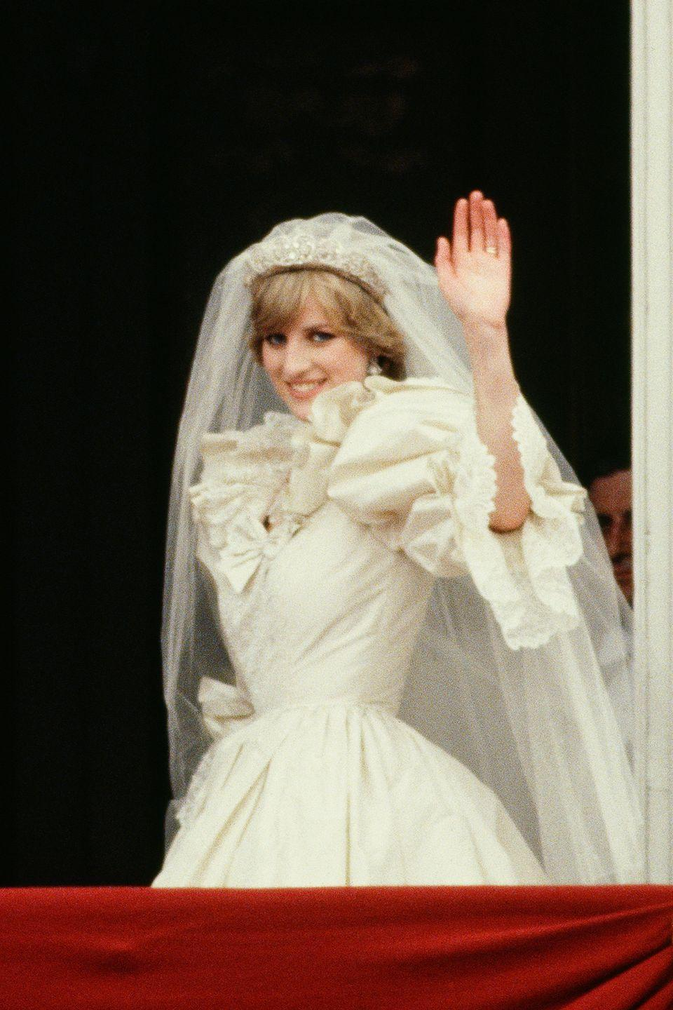 "<p>A special square of Carrickmacross lace either came from a <a href=""http://www.eonline.com/news/859994/the-epic-story-of-princess-diana-s-wedding-dress-3-months-25-feet-of-train-a-20-year-old-bride-and-a-fashion-legacy-for-the-ages"" rel=""nofollow noopener"" target=""_blank"" data-ylk=""slk:bag of scraps purchased at auction"" class=""link rapid-noclick-resp"">bag of scraps purchased at auction</a> or a <a href=""http://www.dailymail.co.uk/femail/article-4801020/Diana-dress-century.html"" rel=""nofollow noopener"" target=""_blank"" data-ylk=""slk:donation from the Royal School of Needlework"" class=""link rapid-noclick-resp"">donation from the Royal School of Needlework</a>, depending on who you ask. </p>"