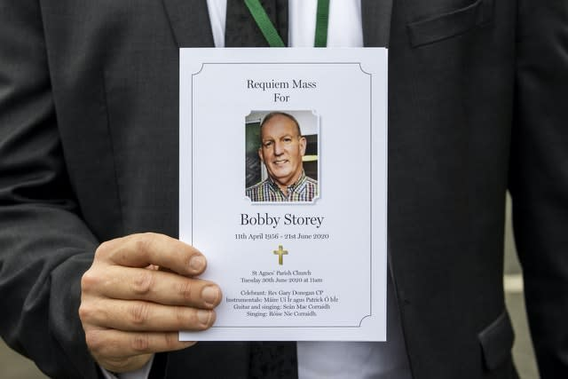 The order of service for the funeral of senior Irish Republican and former leading IRA figure Bobby Storey