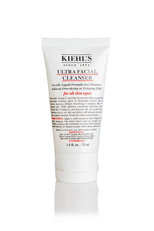 "<p>This 2.5 oz bottle is TSA-approved, and the mild formula is pretty much perfect for all skin types. Basically a win-win.</p><p>Kiehl's Ultra Facial Cleanser, $19.50; <a rel=""nofollow"" href=""http://www.kiehls.com/ultra-facial-cleanser/714.html"">Kiehls.com</a></p>"