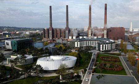 FILE PHOTO: A general view shows the Volkswagen production site in Wolfsburg, Germany, April 28, 2016.    REUTERS/Fabrizio Bensch/File Photo