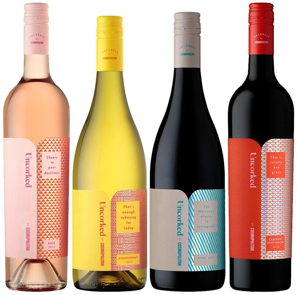 """<p><strong>wine enthusiast</strong></p><p>wine.com</p><p><strong>$58.99</strong></p><p><a href=""""https://go.redirectingat.com?id=74968X1596630&url=https%3A%2F%2Fwww.wine.com%2Fproduct%2Funcorked-by-cosmopolitan-tasting-set%2F681314&sref=https%3A%2F%2Fwww.cosmopolitan.com%2Flifestyle%2Fg31699444%2Fgemini-gift-guide%2F"""" rel=""""nofollow noopener"""" target=""""_blank"""" data-ylk=""""slk:Shop Now"""" class=""""link rapid-noclick-resp"""">Shop Now</a></p><p>Your Gemini pal loves to switch it up, so get them a tasting set so they can have whatever wine they're in the mood for.</p>"""