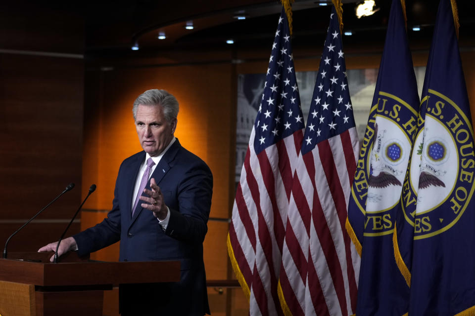 House Minority Leader Kevin McCarthy (R-CA) speaks during his weekly news conference at the U.S. Capitol on April 22, 2021 in Washington, DC. On Thursday, the House is set to vote on H.R. 51, the Washington, D.C. Admission Act. (Drew Angerer/Getty Images)