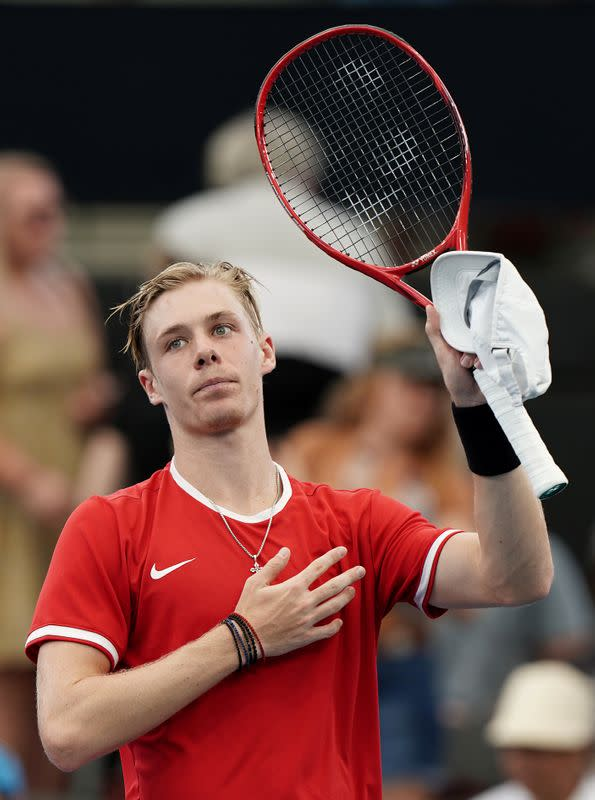 Denis Shapovalov of Canada reacts after defeating Alexander Zverev of Germany during day 5 of the ATP Cup tennis tournament at Pat Rafter Arena in Brisbane
