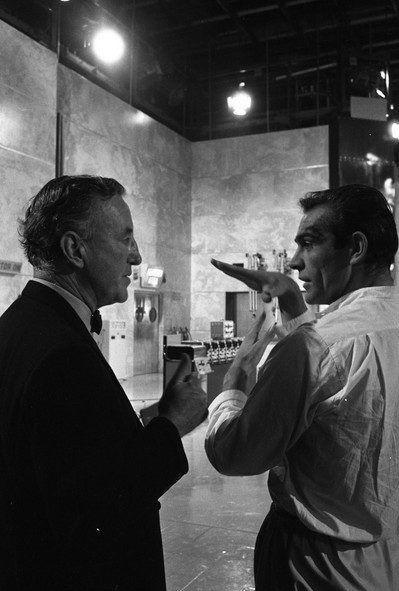 <p>Ian Fleming and Sean Connery discussing a scene on the set of 'Dr. No', 1962.</p>