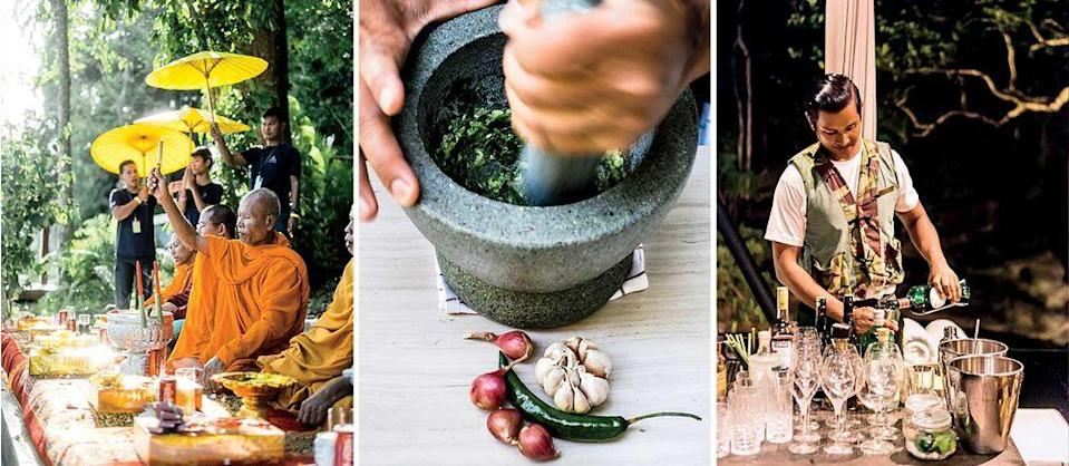 From left: A Buddhist blessing ceremony at Six Senses Krabey Island resort; making chili sauce at Six Senses' Tree restaurant; a staffer prepares for a dinner party at Shinta Mani Wild, a new lodge in the Cardamom Mountains.   Christopher Wise