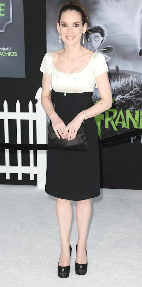 """HOLLYWOOD, CA - SEPTEMBER 24:  Actress Winona Ryder attends the Premiere Of Disney's """"Frankenweenie"""" at the El Capitan Theatre on September 24, 2012 in Hollywood, California.  (Photo by Frederick M. Brown/Getty Images)"""
