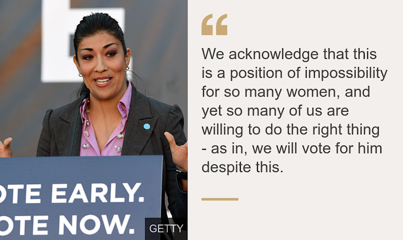 """""""We acknowledge that this is a position of impossibility for so many women, and yet so many of us are willing to do the right thing - as in, we will vote for him despite this."""", Source: , Source description: , Image: Lucy Flores"""