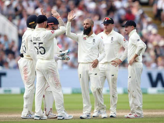 Moeen Ali, centre, has been backed to make a Test return (Nick Potts/PA)
