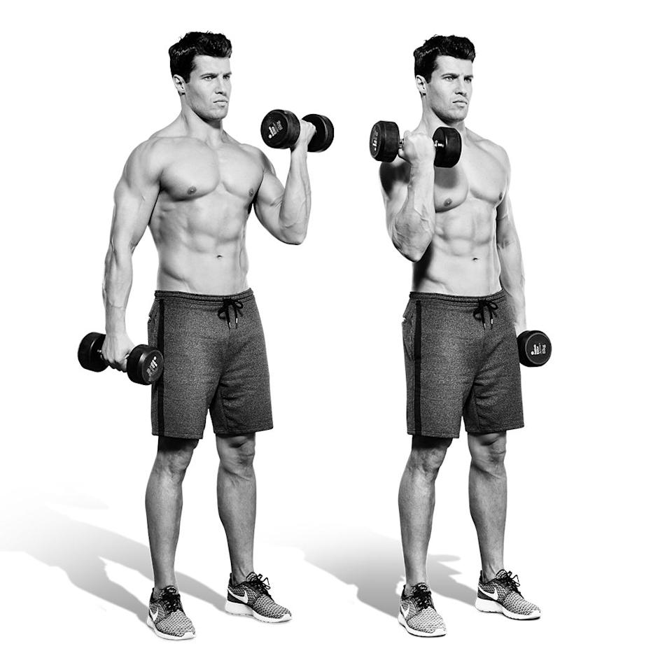 <p>Curl both dumbbells and hold, with your arms at 90°. Squeeze your right biceps as you lower the left bell (A), then curl it up. Now, squeeze your left and lower your right (B). <br></p>