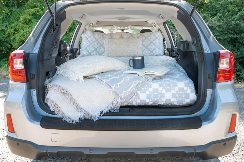 The author's car camping setup for a trip to Olympic National Park.