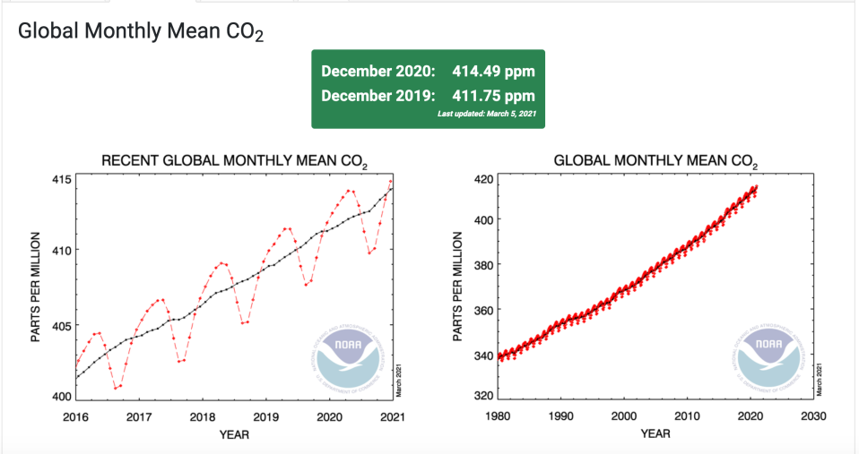 Charts documented the global monthly average of CO2 in the atmosphere from 2019-2020. / Credit: NOAA