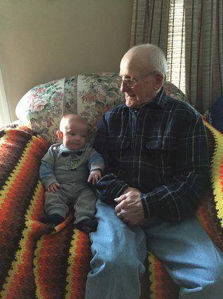 Ross Roberts, 88, with his great-grandson, Matthew Edwin Metz, 5 months.