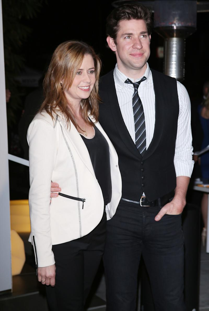 Krasinski and Fischer at the Office series finale wrap party in 2013