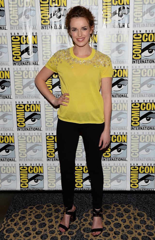 "Elizabeth Henstridge attends ""Marvel's Agents Of S.H.I.E.L.D."" Press Line during Comic-Con International 2013 at Hilton San Diego Bayfront Hotel on July 19, 2013 in San Diego, California."