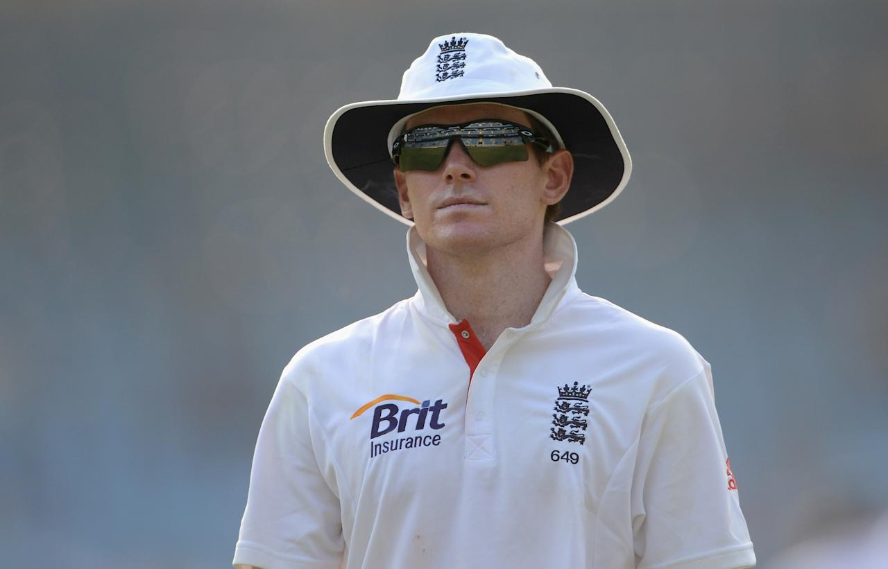 MUMBAI, INDIA - NOVEMBER 04:  Eoin Morgan of England during day two of the tour match between Mumbai A and England at The Dr D.Y. Palit Sports Stadium on November 4, 2012 in Mumbai, India.  (Photo by Gareth Copley/Getty Images)