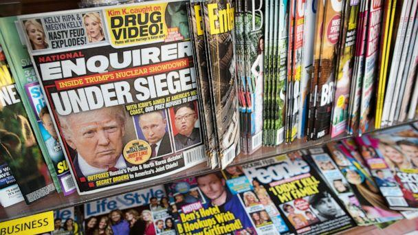 PHOTO: This July 12, 2017 file photo shows an issue of the National Enquirer featuring President Donald Trump on its cover at a store in New York. (AP Photo/Mary Altaffer)
