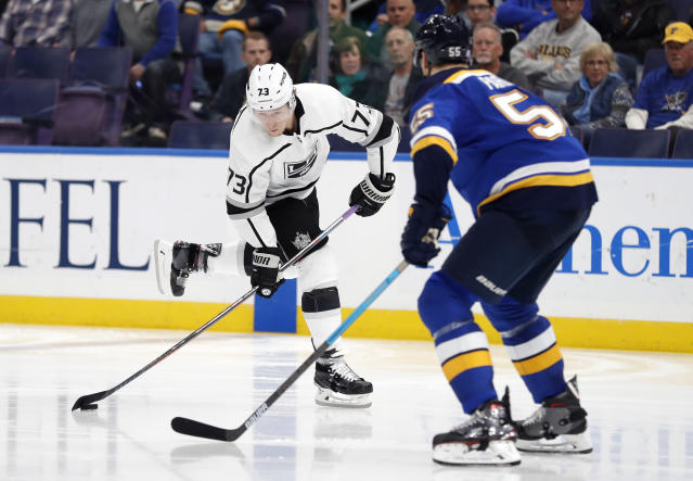 Los Angeles Kings' Tyler Toffoli shoots as St. Louis Blues' Colton Parayko defends during the third period of an NHL hockey game Monday, Nov. 19, 2018, in St. Louis. The Kings won 2-0.(AP Photo/Jeff Roberson)