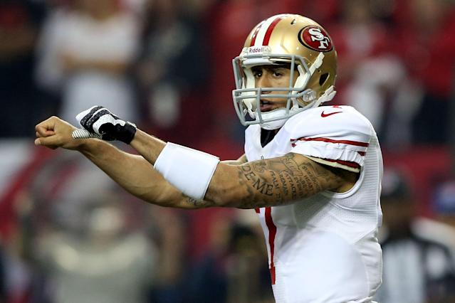 ATLANTA, GA - JANUARY 20: Quarterback Colin Kaepernick #7 of the San Francisco 49ers calls out from under center in the first quarter against the Atlanta Falcons in the NFC Championship game at the Georgia Dome on January 20, 2013 in Atlanta, Georgia. (Photo by Streeter Lecka/Getty Images)