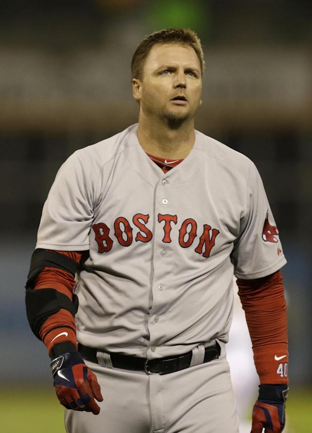 Boston Red Sox's A.J. Pierzynski walks off the field after the 4-2 loss to the Oakland Athletics at the end of a baseball game Thursday, June 19, 2014, in Oakland, Calif. (AP Photo/Ben Margot)