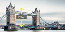 "<p><strong>London</strong></p><p>Tower Bridge opened in 1894 on the east side of London after an eight-year project to construct a bridge across the Thames. It's one bridge in two styles: suspension and bascule. The 213-foot-tall towers on either end of a 200-foot central lift span suspend the bridge to the shore on either side, while serving as the foundation for the <a href=""https://www.towerbridge.org.uk/"" rel=""nofollow noopener"" target=""_blank"" data-ylk=""slk:bascule span"" class=""link rapid-noclick-resp"">bascule span</a> that can raise and lower for ship traffic.</p>"