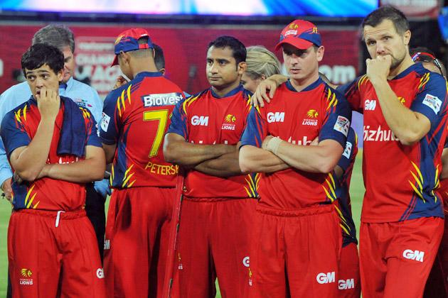 Highveld Lions players show their dejection during the prize giving after they lost the Karbonn Smart CLT20 Final match between bizhub Highveld Lions and Sydney Sixers at Bidvest Wanderers Stadium on October 28, 2012 in Johannesburg, South Africa. (Photo by Duif du Toit/Gallo Images/Getty Images)