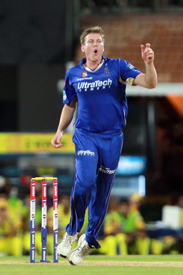 James Faulkner reacts to a good delivery during match 30 of the Pepsi Indian Premier League between The Chennai Super Kings and the Rajasthan Royals held at the MA Chidambaram Stadium in Chennai on the 22nd April 2013. Photo by Jacques Rossouw-IPL-SPORTZPICS ..Use of this image is subject to the terms and conditions as outlined by the BCCI. These terms can be found by following this link: https://ec.yimg.com/ec?url=http%3a%2f%2fwww.sportzpics.co.za%2fimage%2fI0000SoRagM2cIEc&t=1490493343&sig=vV3V5O7qpp_9KV9g5vGfSA--~C