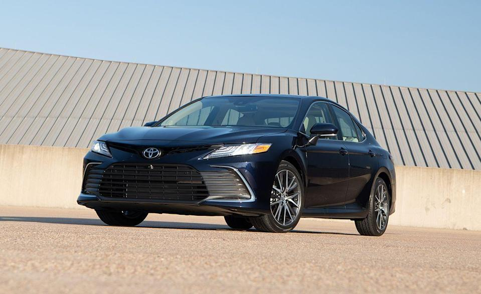 """<p>Nearing its 40th year anniversary, the <a href=""""https://www.caranddriver.com/toyota/camry"""" rel=""""nofollow noopener"""" target=""""_blank"""" data-ylk=""""slk:Toyota Camry"""" class=""""link rapid-noclick-resp"""">Toyota Camry</a> has been the most popular car sold in America for 19 years in a row. Today, every Camry comes with driver-assistance features like lane-keeping assist, automatic high beams, active cruise control, and forward-collision warning with automated emergency braking. The safest Camry <a href=""""https://www.iihs.org/ratings/vehicle/toyota/camry-4-door-sedan/2021"""" rel=""""nofollow noopener"""" target=""""_blank"""" data-ylk=""""slk:according to the IIHS"""" class=""""link rapid-noclick-resp"""">according to the IIHS</a> is the Hybrid XLE equipped with the $4665 Navigation Upgrade Package. The extra toppings include adaptive headlights that earned a Good rating during testing. The standard LED projectors for other trim levels received an Acceptable rating. Even the cheapest Camry earned better marks than the Honda Civic's Poor rating for LX, Sport, EX, and EX-L models with halogen low-and high-beam headlights.</p><p><a class=""""link rapid-noclick-resp"""" href=""""https://www.caranddriver.com/reviews/a35366804/2021-toyota-camry-awd-drive/"""" rel=""""nofollow noopener"""" target=""""_blank"""" data-ylk=""""slk:CAMRY TESTED"""">CAMRY TESTED</a> 