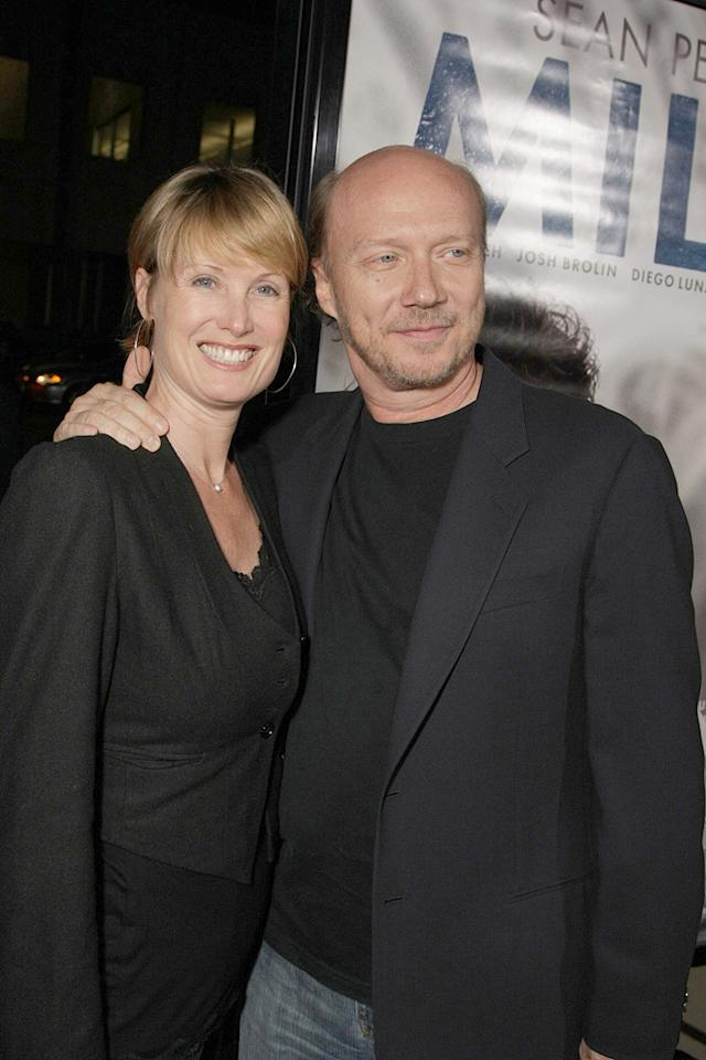 """<a href=""""http://movies.yahoo.com/movie/contributor/1800232257"""">Paul Haggis</a> and wife at the Los Angeles premiere of <a href=""""http://movies.yahoo.com/movie/1810041985/info"""">Milk</a> - 11/13/2008"""