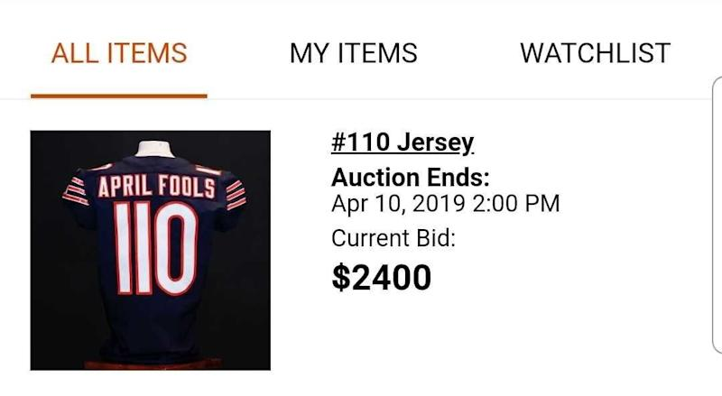 Mitchell Trubisky's No. 110 jersey was a popular item up for auction. (Bears app screen shot)