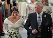 <p>Her father, Prince Andrew, walked her down the aisle. Photo: Getty </p>