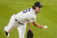 New York Yankees' Gerrit Cole delivers a pitch during the first inning of a baseball game against the Toronto Blue Jays Wednesday, Sept. 16, 2020, in New York. (AP Photo/Frank Franklin II)