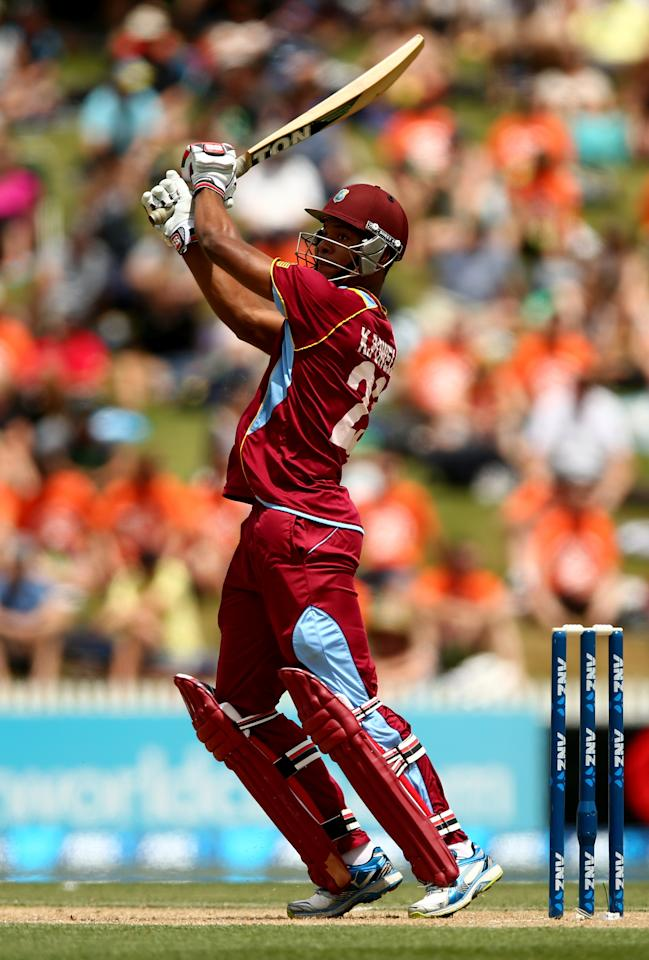 HAMILTON, NEW ZEALAND - JANUARY 08:  Kieran Powell of the West Indies bats during game five of the One Day International Series between New Zealand and the West Indies at Seddon Park on January 8, 2014 in Hamilton, New Zealand.  (Photo by Phil Walter/Getty Images)