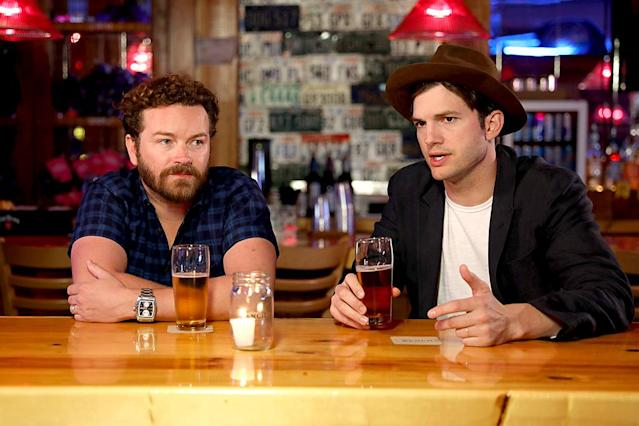 <p>Former <em>That '70s Show</em> stars Masterson and Kutcher shared a beer in Nashville. This time it was to promote the new season of their Netflix series, <em>The Ranch: Part 3</em>, but we imagine it doesn't look much different when they meet up for a drink for fun. (Photo by Anna Webber/Getty Images for Netflix) </p>