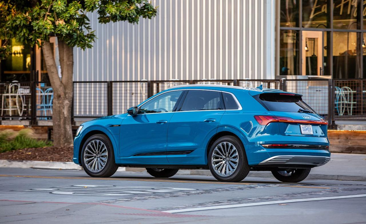 <p>The e-tron is nominally rated at 355 horsepower, although its boost mode can up that to 402 horses for up to eight seconds at a time.</p>