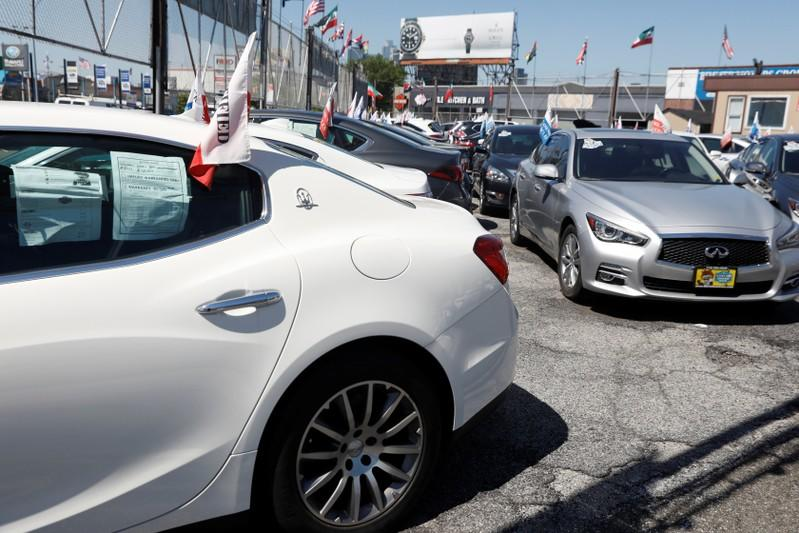 Automobiles are seen for sale in a car lot in Queens, New York