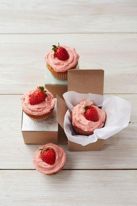 """<p>Use your favorite strawberry jam to make the frosting for these cupcakes. </p><p><em>Get the recipe from <a href=""""https://www.goodhousekeeping.com/food-recipes/a15373/pbj-cupcakes-recipe-ghk0514/"""" rel=""""nofollow noopener"""" target=""""_blank"""" data-ylk=""""slk:Good Housekeeping"""" class=""""link rapid-noclick-resp"""">Good Housekeeping</a>.</em></p>"""