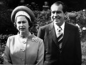 *Scanned low-res from print, high-res available on request* Queen Elizabeth II with American President Richard Nixon at Chequers, the official country residence of the Prime Minister in Buckinghamshire.