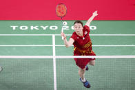 <p>CHOFU, JAPAN - JULY 25: Yuta Watanabe(not in picture) and Arisa Higashino of Team Japan compete against Simon Wing Hang Leung and Gronya Somerville of Team Australia during a Mixed Doubles Group C match on day two of the Tokyo 2020 Olympic Games at Musashino Forest Sport Plaza on July 25, 2021 in Chofu, Tokyo, Japan. (Photo by Lintao Zhang/Getty Images)</p>