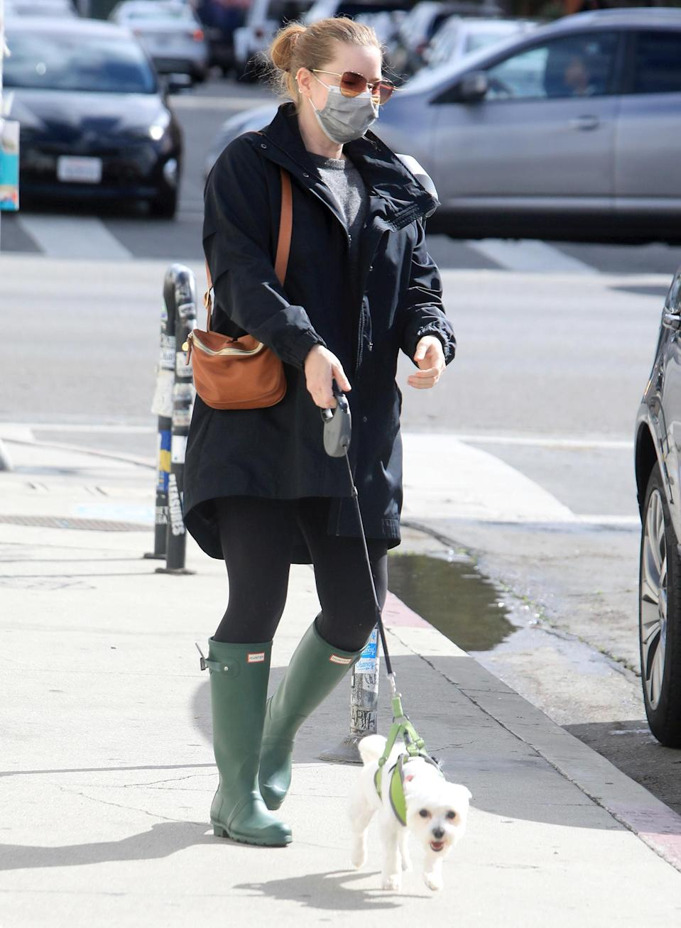 <p>Amy Adams steps out with husband Darren Le Gallo (not pictured) and their dog on Wednesday in L.A.</p>