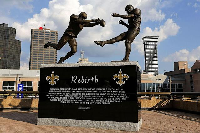 Steve Gleason's punt block was immortalized in a statue outside the Superdome. (Getty)