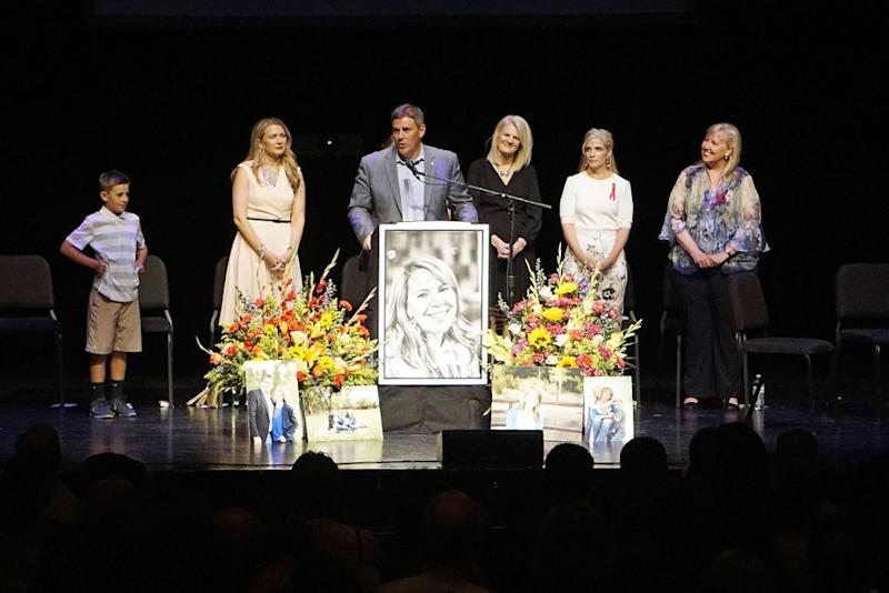 Michael Riordan and family at his wife's memorial service at the University of New Mexico