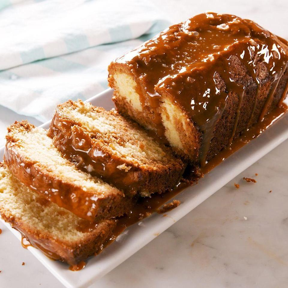 """<p>This is no ordinary loaf cake. It's swirled with a sweet and decadent caramel batter and topped with a healthy drizzle of salted caramel after it's baked. </p><p>Get the <a href=""""https://www.delish.com/uk/cooking/recipes/a34104486/salted-caramel-pound-cake-recipe/"""" rel=""""nofollow noopener"""" target=""""_blank"""" data-ylk=""""slk:Salted Caramel Loaf Cake"""" class=""""link rapid-noclick-resp"""">Salted Caramel Loaf Cake</a> recipe. </p>"""